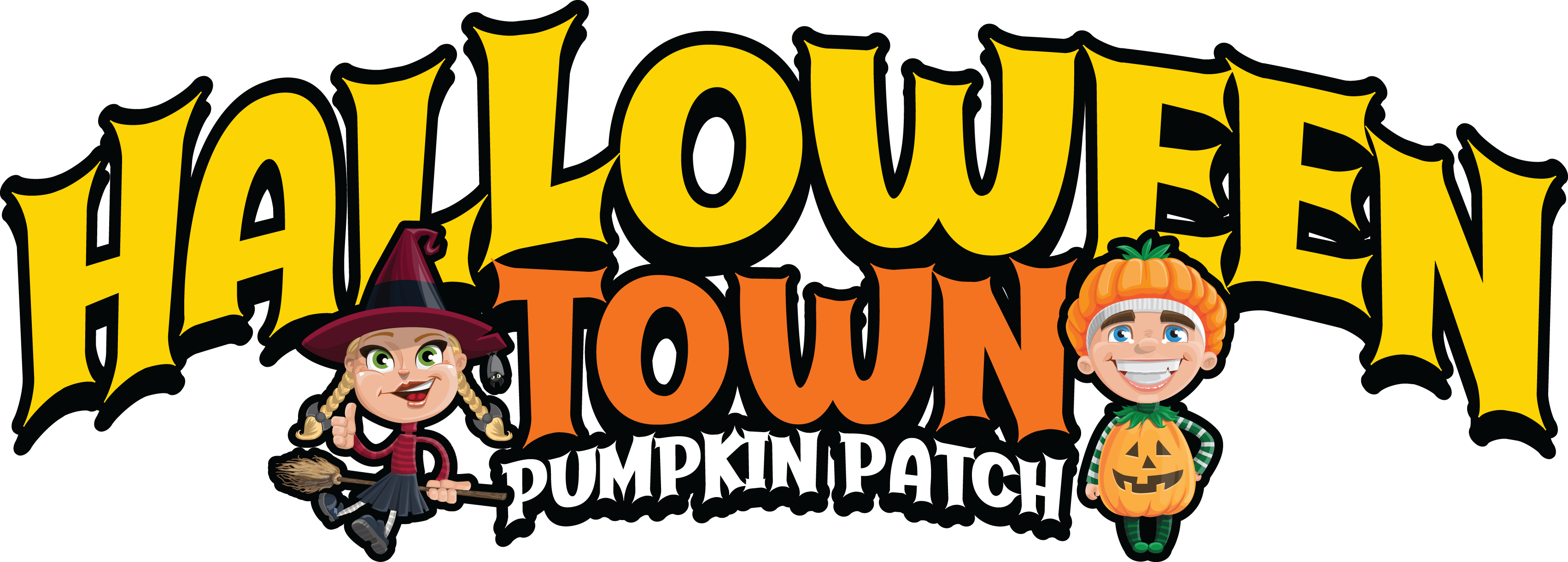 Halloween Town word logo with characters